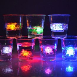 Wholesale Ice Cube Flashing Led Lights - Halloween Flash light Ice Cube Water-Actived Flash Led Light Square lamp Put Into Water Flash Automatically Party Wedding Bars Christmas