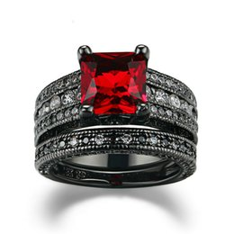 Wholesale Diamond Black Stone Ring - Black Gold Plated Ring Vintage Wedding Ring Sets for Women Red Stone Fashion Party Women Jewelry Rings