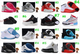 Wholesale Toddler Girls Beige Shoes - Boys Girls Retro 12 Kids Basketball Shoes Childrens 12s Gym Red 12s Barons Wolf Grey French Blue Sports Shoes Toddlers Birthday Gift