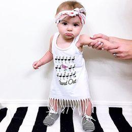 Wholesale Ostrich Vests - 2017 Ins hot selling spring & summer ostrich printed tassel dress baby girl vest boho dress baby ins clothes