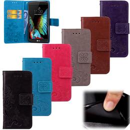 Canada Conception de fermeture magnétique de motif de trèfle chanceux de mode, couverture de cas de portefeuille de cas de PU de qualité supérieure avec des supports de carte pour le LG K10 Offre