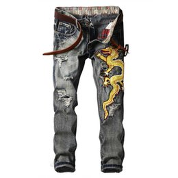 Wholesale China Jeans Pant - Fashion Men's China Gold Dragon Embroidery Jeans Punk Rock Ripped Distressed Jeans Unique Denim Pants for Men