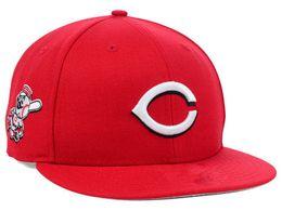 Wholesale Cotton Balls Lights - new 2017 Newesrt Wholesale-Men's Cincinnati Reds sport team fitted cap two tone full closed design baseball hat in black light gray
