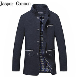 Wholesale Long Business Coats For Men - Wholesale- High Quality Men's Wool Blends Single Breasted Coat Designer Fashion Stand Collar Business Casual Wool Coat For Men 50wy