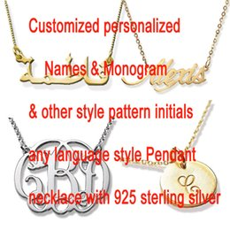Wholesale Personalized Silver Initial Necklace - Customized Name Necklace Personalized Arabic Font Sterling Silver Script Gold & Silver Color Any Font Monogram Initials Necklaces