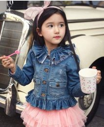 Wholesale Kids Blue Jean Shorts - 2017 NEW Kids Toddlers Girls Long Sleeve spring autumn Blue Short Jean Coats denim Jackets solid collar with lace behind hotsale kid clothes