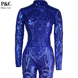 Wholesale Tattoos Sexy Woman - Wholesale- Blue Rompers Womens Jumpsuit Romper Sexy Gold Geometric Tattoo Sequin Jumpsuit Women Long Sleeve Sequined Women Bodysuit Catsuit