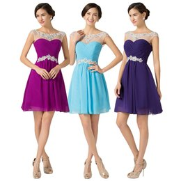 Wholesale Chiffon Short Homecoming Dances - Short Prom Dresses 2017 Knee Length Blue Violet Purple Dance Sexy Homecoming Gown Beading Chiffon Prom Dress 2017