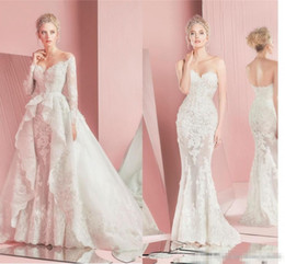Wholesale Modest Sheath Wedding Dresses - Zuhair Murad 2016 Full Lace Wedding Dresses Sheer Long Sleeve V Neck Applique Detachable Overskirts Train Modest Beach Bridal Wedding Gowns