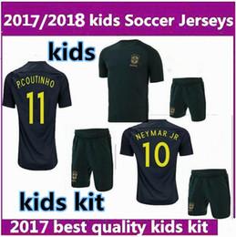Wholesale Brazil Football Kits - 2017 2018 kids World Cup Soccer jersey Kits 3RD green Brazil NEYMAR JR PELE P.COUTINHO DAVID LUIZ 2017 Brazil child Football shirts