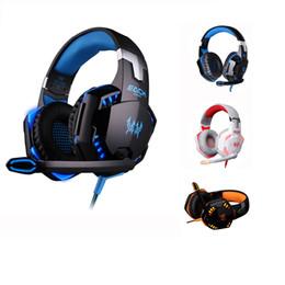 Verstecktes mikrofon online-Neue Bass Over-Ear-Gaming-Headset Stereo G2000 Sound 2,2 m verdrahtete Kopfhörer Voice-Kopfhörer Stirnband Steuerung mit versteckten Mikrofon LED-Licht