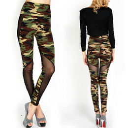 Wholesale Camouflage Leggins - Wholesale- 2016 Women Sexy Mesh Camouflage Leggings High Waist Patchwork Stretchy Slim Army Camo Leggings Female Fitness Leggins Army Green