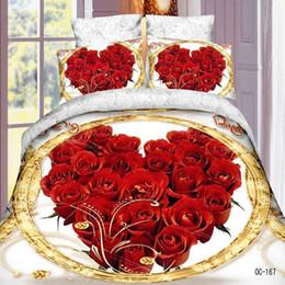 Wholesale 3d Doona Covers - Wholesale- home textile,reactive 3d rose crown queen size bedding set of duvet doona cover bed sheet pillow cases 4pcs bed linen set