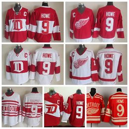 Wholesale Hockey Jerseys Home - Mens Throwback Detroit Red Wings #9 Gordie Howe Hockey Jerseys Home Red Vintage Winter Classic Red White Gordie Howe Cheap Stitched C Patch