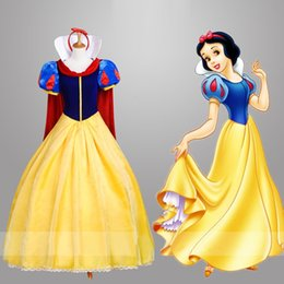 Wholesale White Fancy Tops - 2017 Top quality Adult Snow White Fancy Dress For Women movie Cosplay Costume Princess Fairytale Snow White Halloween party Dress