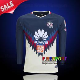 Wholesale America Long - 2017-18 Club America Long Sleeve O.Peralta Futbol Camisa Soccer Jerseys 17 18 Football Camisetas Shirt Maillot Liga MX Chivas Full Jerseys