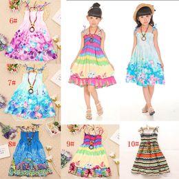 Wholesale Knee Length Beach Sundresses - Girls Dress Summer Beach Bohemian Kid Dresses For Girls Shoulderless Clothes Children Clothing Sundress Child Costume Floral