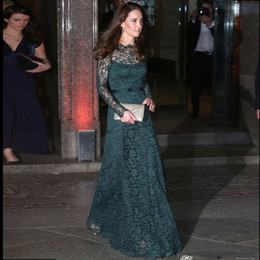 Wholesale Green Kate Middleton Dress - KATE MIDDLETON Same Style Red Carpet Evening Dress Dark Green Lace Long Sleeve Floor Length Special Occasion Dresses Formal Wear