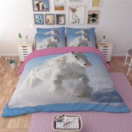 Wholesale Quilt Cover Sets Animal - New 3D Horse Patterns Bedding Set 2PC 3PC Duvet Cover Set Quilt Cover Pillowcase High Quality Twin Full Queen King Size