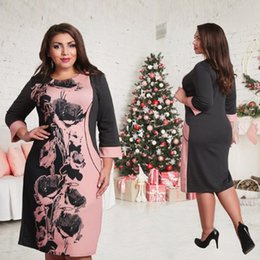Wholesale Sexy Clothes Line - 2017 Big Size Women Dress Fashion Print Bow Plus Size Women Clothing Sexy O-Neck Summer Dress Vestidos Femininos 6XL 5XL