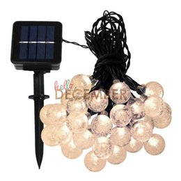 Wholesale Leds Water - Decorative Lighting LED Crystal Ball Solar String Lights 6M 30 LEDs RGB Blue Red Green Pink Purple Warm Cool LED Strings
