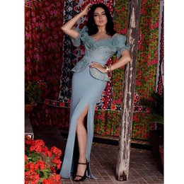 Wholesale Decorating Lace - 2017 Blue Sheath Mother Dresses Sheer Crew Neckline with Ruffled Tulle Decorated and Lace Covered Satin with Peplum and High Tigh Split