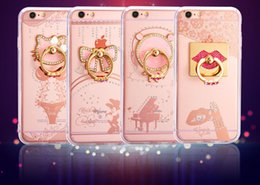 Wholesale Metal Shell Case - Wholesale rhinestone rings case for iPhone 6 plus mobile glitter case quicksand diamond shell sets stent ring for iPhone 7plus case