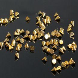 Wholesale Wholesale Metallic Cones - 100PCS Nail Art Studs 3MM(D)*3.5MM(H) Cone Metallic Nail Art Decoration Rhinestone Studs Manicure Tool