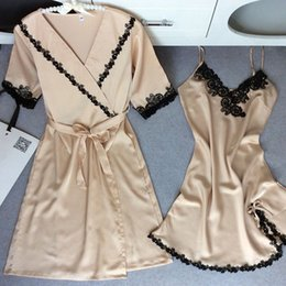Wholesale Satin Nightdress Set - 2 pcs set Sexy Lace Women Sleepwear Nightdress Embroidery Silk Ladies Night Robe Nightgowns Euramerican Women Pajamas Sets Nightwear