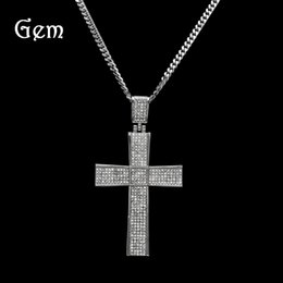 Wholesale Large Silver Chain Link Necklace - HIP-HOP Diamond Cross Pendant Full Of Large Jewelry Men's Hip-Hop Necklace Silver Pendant For Men Wholesale
