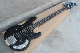 Wholesale Free Music Guitar - Wholesale- Free Shipping Custom new Music man StingRay 5 Strings black Electric Bass Guitar Maple Neck Through Body Active Pickups 16 131