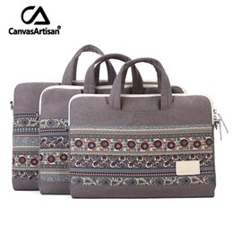 "Wholesale Top Quality Notebooks - Wholesale- CanvasArtisan Top quality laptop sleeves protective case quakeproof notebook sleeves canvas bags briefcase 13.4""14""15.6"""