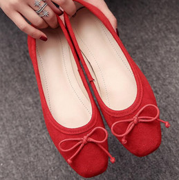 Wholesale Simple Lace Wedding Flats - 2017 spring new women's singles shoes bow set foot shallow mouth scoop shoes leisure simple color lazy woman 2017 spring new women's single