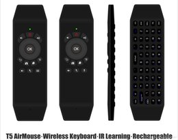 Wholesale Universal Ir Receiver - T5 2.4G Wireless Air Mouse Universal Remote Control Keyboard USB Wireless Receiver With IR Learning Mic Optional For Tv Box PC