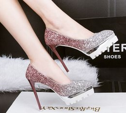 Wholesale Gold Sequin Pumps Shoes - Wholesale New Arrival Hot Sale Specials Super Fashion Knight Star Sweety Sequins Pointed Party Noble Platform Single Heels Shoes EU34-39