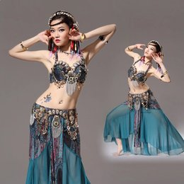 Wholesale Belly Dance Black Skirt - Stage Performance Women Dancewear Tribal Bellydance Outfit Set C D Cup Coins Bra Skirts Belly Dance Costume 2pcs Bra Skirt