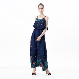 Wholesale Tropical Dresses For Summer - Summer Tropical Dresses For Women sundress printing Floral Strap Shift Long Ladies Maxi Dress Sleeveless Fashion clothes