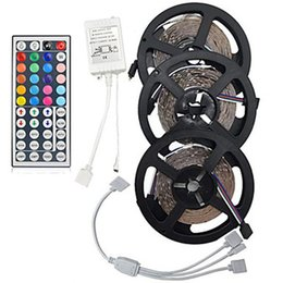Wholesale 15m Led Light - 15M SMD3528 Non-Waterproof RGB 900 LED Strip Light Kit Set + 44 Keys Controller + Cable Connect DC12V