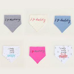 Wholesale I Love Daddy Baby - Baby Bibs Infants Burp Cloths Saliva Towel triangle I love mummy I really love my Daddy Cute letters Slabbetjes Bandana Feeding Scarf WD250A