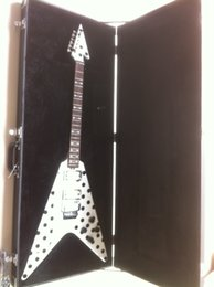 Wholesale Dot Guitar - Wholesale- Randy Rhoads Guitar Harpoon Polka Dot Flying V standard Guitar Replica Collectible with folydrose Special Bridge and hardcase