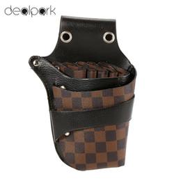 Wholesale Scissors Holster Belt - Wholesale- Hair Scissor Holster Hairdressing Bag Pouch Holder for Hair Rivet Clips Waist Shoulder Belt Included PU Leather