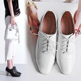 Wholesale Lace Dress Match - Women Pumps Genuine Leather White Black Square Toe Lace Up High Heels Shoes Woman Chunky Heel Solid Color All Match Casual Drop Shipping
