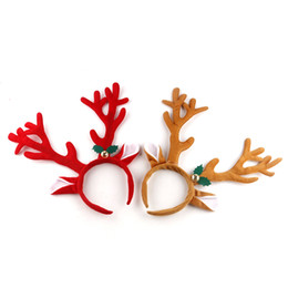 Wholesale Buckles Suppliers - Christmas Decoration Deer Bell Large Antlers Christmas Head Hoop Buckle Xmas Party Suppliers Holiday Gifts Wholesale 0708097