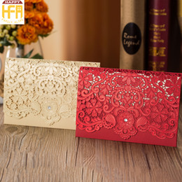 Wholesale Wedding Laser Card - 12.5*18.6Cm Laser Cut Wedding Invitations Invitation Card Marriage Invitation Card Hollow Pattern For Bridal Shower Engagement Wedding Party