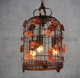 Wholesale Garden Vintage Antiques - Vintage Pendant Lamp Chinese Antique Style Creative Garden Pendant Lamp Leaf Decor Suspension Lamp Cage Lights MYY