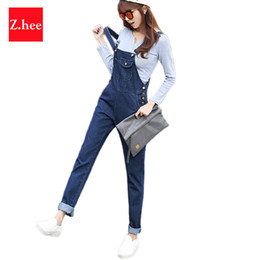 Wholesale Denim Jumpsuits For Women - Wholesale- S-5XL Puls Size Loose Straps Denim Rompers Womens Jumpsuit Boyfriend Overalls For Women Jumpsuits And Rompers