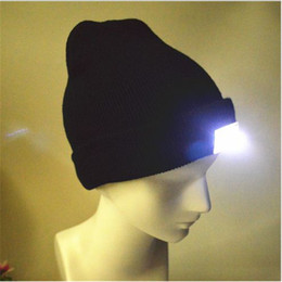 Wholesale Woman Fancy - 8 color LED hat led cap light Free Unisex Lighted Beanie Power Stocking Cap led light hat Women Men Camping Cap ouc1092
