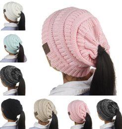 Wholesale Beret Hat Children - Newest Children CC Beanies Winter Woolen Caps Kids Ponytail Hats Girl Winter Warm Knitted Crochet Skull Beanie 6 Colors