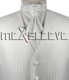 Wholesale Mens Vests Ascot Tie - white stripe Mens Tuxedo Vest and ascot tie cufflink handkerchief