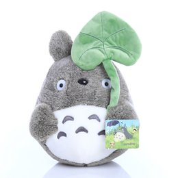 Wholesale Natural Leaf - 25cm lovely plush toy, my neighbor totoro plush toy cute soft doll totoro with lotus leaf kids toys Cat L367